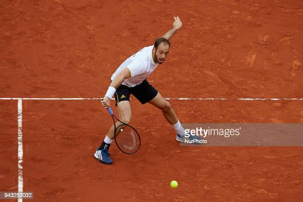 Tim Putz of Germany in action in his doubles match with JanLennard Struff against Feliciano Lopez and Marc Lopez of Spain during day two of the Davis...