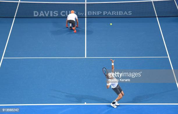 Tim Putz of Germany serves in the doubles match with Jan-Lennard Struff against Matt Ebden and John Peers of Australia during the Davis Cup World...