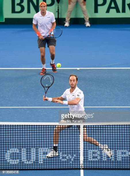 Tim Putz of Germany volleys in the doubles match with Jan-Lennard Struff against Matt Ebden and John Peers of Australia during the Davis Cup World...