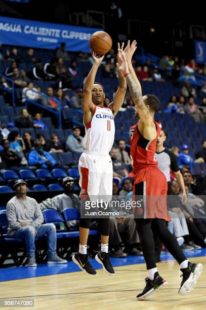 Tim Quarterman of the Agua Caliente Clippers shoots the ball against the Raptors 905 on March 22 2018 at the Citizens Business Bank Arena in Ontario...