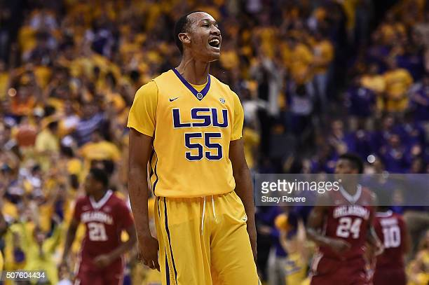 Tim Quarterman of the LSU Tigers reacts to a three point shot during the first half of a game against the Oklahoma Sooners at the Pete Maravich...