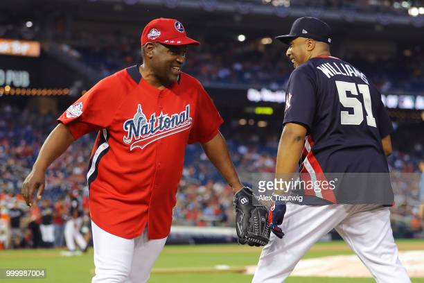 Tim Raines and Bernie Williams during the Legends Celebrity Softball Game at Nationals Park on Sunday July 15 2018 in Washington DC *** Tim Raines...