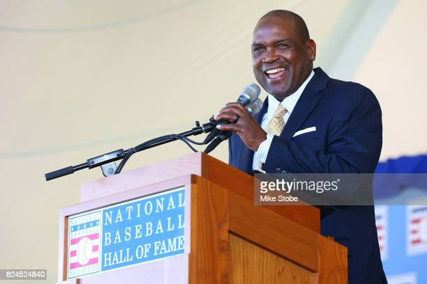 Tim Raines gives his induction speech at Clark Sports Center during the Baseball Hall of Fame induction ceremony on July 30, 2017 in Cooperstown, New...