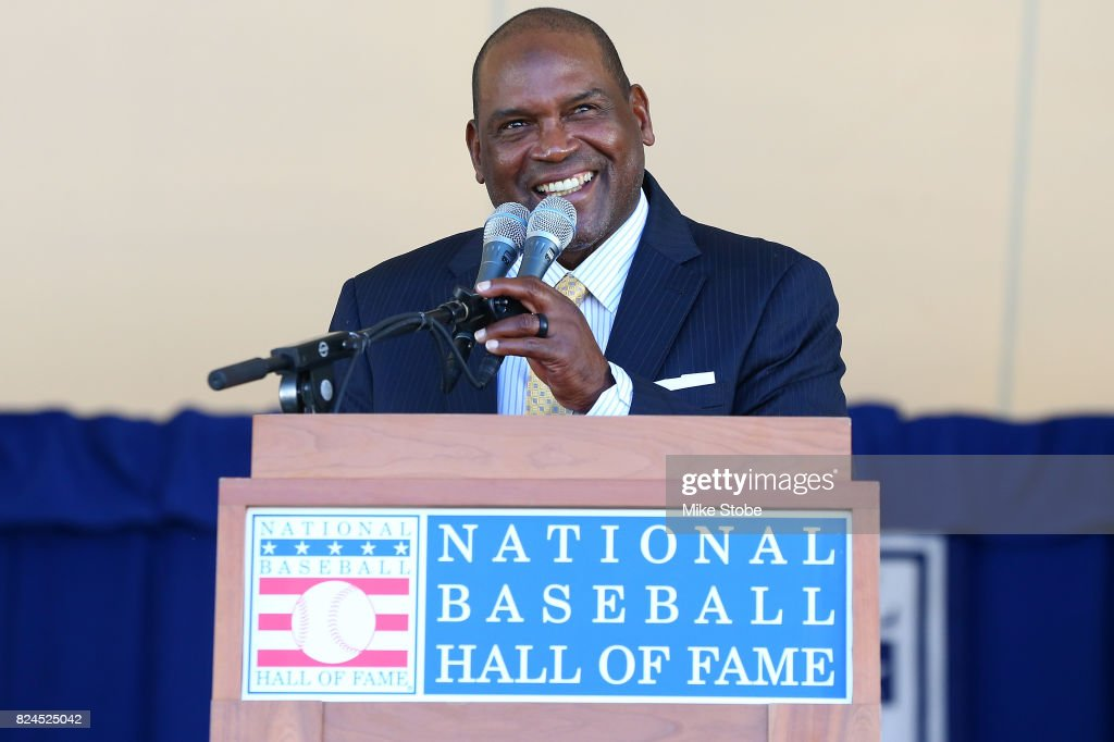 Tim Raines gives his induction speech at Clark Sports Center during the Baseball Hall of Fame induction ceremony on July 30, 2017 in Cooperstown, New York.