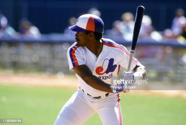 Tim Raines of the Montreal Expos bats during an Major League Baseball spring training game circa 1984 at Jackie Robinson Stadium in Daytona Beach...