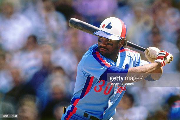 Tim Raines of the Montreal Expos batting against the New York Mets in September 1989 at Shea Stadium in Flushing New York
