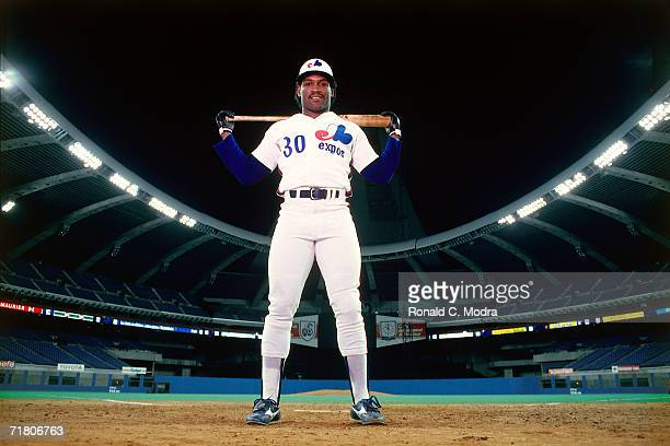 Tim Raines of the Montreal Expos posing in Olympic Stadium in June 1984 in Montreal Ontario