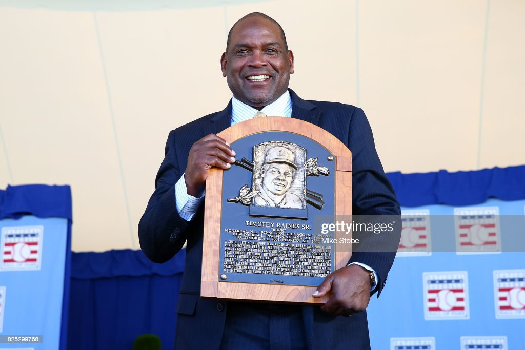 Tim Raines pose for a photo at Clark Sports Center during the Baseball Hall of Fame induction ceremony on July 30, 2017 in Cooperstown, New York.
