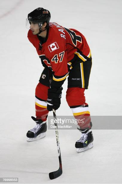 Tim Ramholt of the Calgary Flames looks on against the Florida Panthers at the Pengrowth Saddledome on September 16 2007 in Calgary Alberta Canada