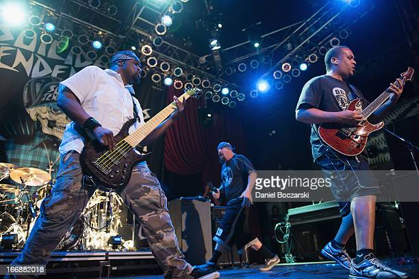 Tim 'RAWBIZ' Williams Mike Muir and Dean Pleasants of Suicidal Tendencies perform on stage during The Slam City Tour at House Of Blues Chicago on...