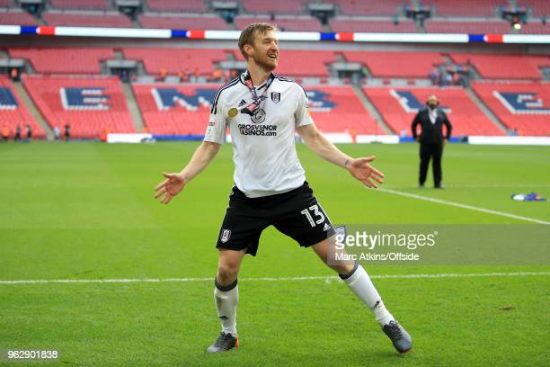 Tim Ream of Fulham celebrates during the Sky Bet Championship Play Off Final between Aston Villa and Fulham at Wembley Stadium on May 26 2018 in...