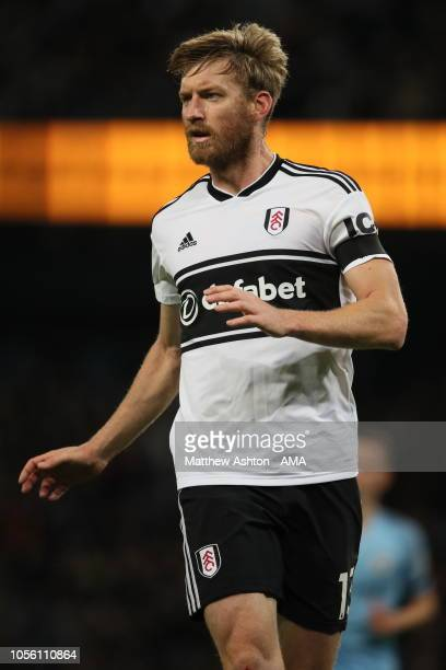 Tim Ream of Fulham during the Carabao Cup Fourth Round match between Manchester City and Fulham at Etihad Stadium on November 1 2018 in Manchester...