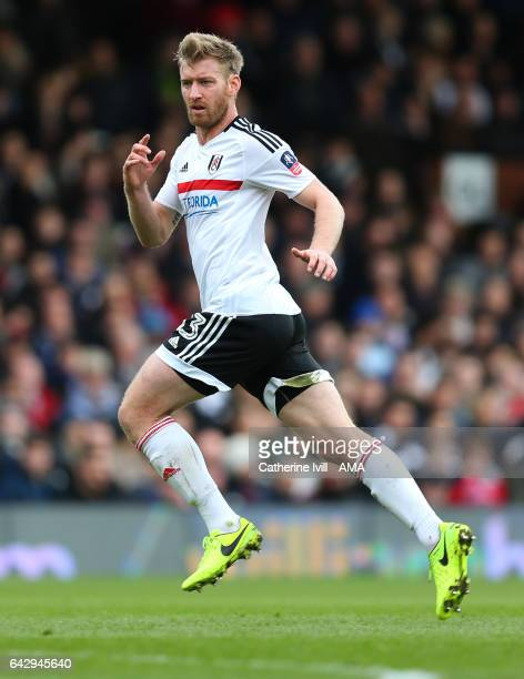 Tim Ream of Fulham during The Emirates FA Cup Fifth Round match between Fulham and Tottenham Hotspur at Craven Cottage on February 19 2017 in London...