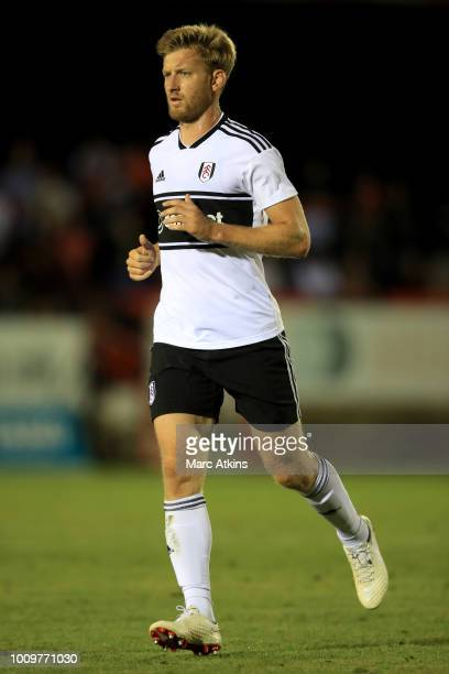Tim Ream of Fulham during the PreSeason Friendly between Fulham v Sampdoria at the EBB Stadium on August 1 2018 in Aldershot England