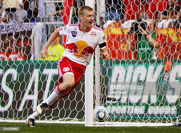 Tim Ream of the New York Red Bulls celebrates his first MLS goal in the 32nd minute against the Colorado Rapids on September 11 2010 at Red Bull...