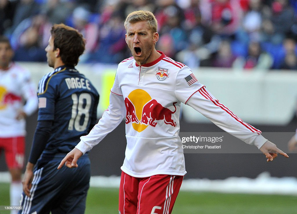 Tim Ream #5 of the New York Red Bulls reacts to a call by the referee during the first half against the Los Angeles Galaxy at Red Bull Arena on October 30, 2011 in Harrison, New Jersey. The Galaxy defeated the Red Bulls 1-0.