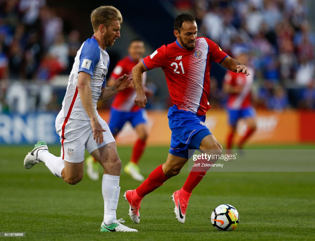 Tim Ream #14 of the United States fights for the ball with Marcos Urea #21 of Costa Rica during their match at Red Bull Arena on September 1, 2017 in Harrison, New Jersey.