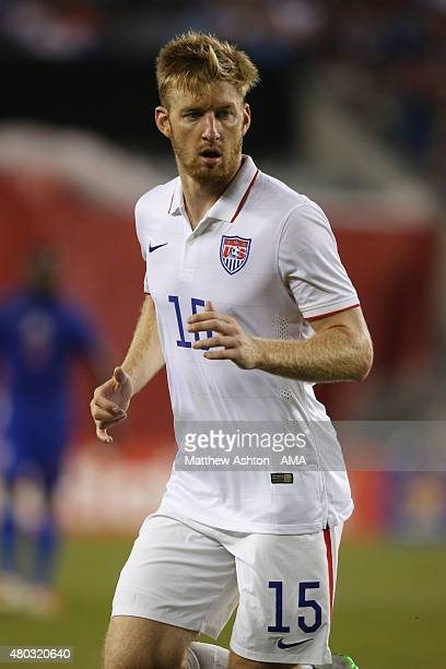 Tim Ream of United States chases the ball during the CONCACAF Gold Cup match between USA and Haiti at Gillette Stadium on July 10 2015 in Foxboro...