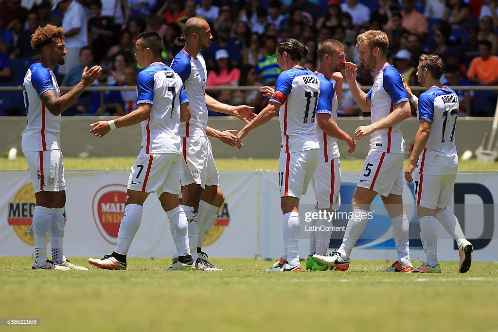 Tim Ream of USA celebrates with teammates after scoring the opening goal during an international friendly match between Puerto Rico and USA at Juan Ramon Loubriel Stadium on May 22, 2016 in Bayamon, Puerto Rico.