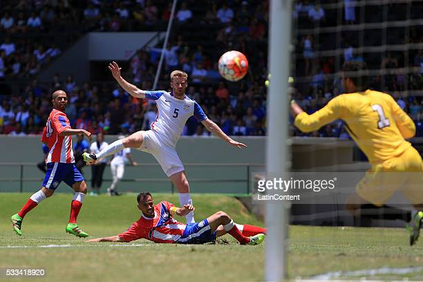 Tim Ream of USA shoots to score the openning goal during an international friendly match between Puerto Rico and USA at Juan Ramon Loubriel Stadium...