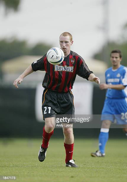 Tim Regan of the New York/New Jersey MetroStars plays the ball against the Kansas City Wizards during the MLS game on March 7 2003 at the Orange Bowl...