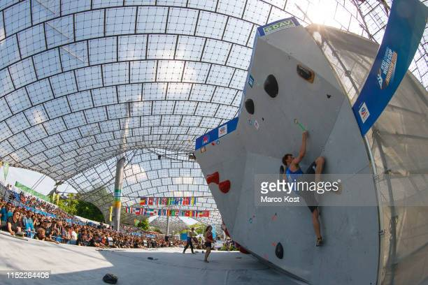Tim Reuser of the Netherlands competes during the semifinals of the IFSC Climbing World Cup Munich on May 19 2019 in Munich Germany