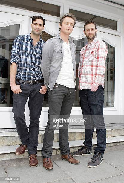 Tim Rice-Oxley, Tom Chaplin and Richard Hughes of Keane promote video 'Disconnected' at The Electric Cinema on May 2, 2012 in London, England.