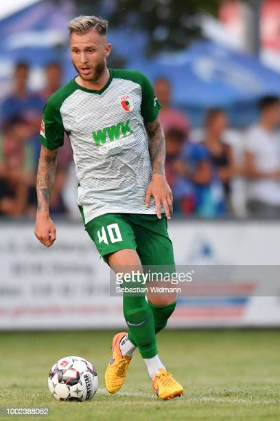 Tim Rieder of Augsburg plays the ball during the preseason friendly match between SC Olching and FC Augsburg on July 19 2018 in Olching Germany
