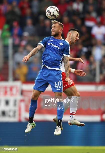 Tim Rieder of SV Darmstadt 98 heads the ball during the Second Bundesliga match between SSV Jahn Regensburg and SV Darmstadt 98 at Continental Arena...