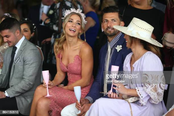 Tim Robards and Anna Heinrich attend the David Jones Marquee on Caulfield Cup Day at Caulfield Racecourse on October 21 2017 in Melbourne Australia