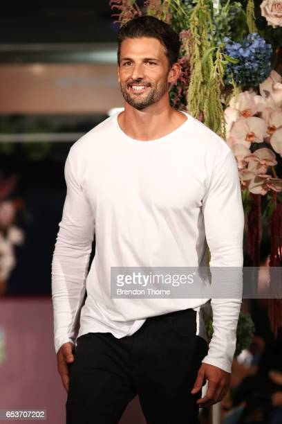 Tim Robards showcases designs by Dom Bagnato during the Myer Fashion Runway show on March 16, 2017 in Sydney, Australia.