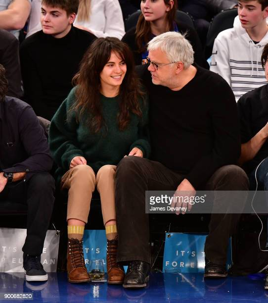 Tim Robbins and guest attend the New York Knicks Vs San Antonio Spurs game at Madison Square Garden on January 2 2018 in New York City
