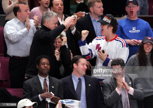 Tim Robbins and Susan Sarandon with family during Celebrities Attend Atlanta Thrashers vs NY Rangers Playoff Game April 18 2007 at Madison Square...