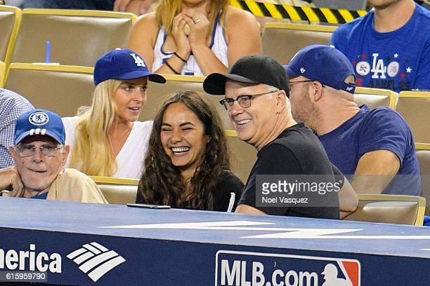 Tim Robbins attends game 5 of the NLCS between the Chicago Cubs and the Los Angeles Dodgers at Dodger Stadium on October 20 2016 in Los Angeles...