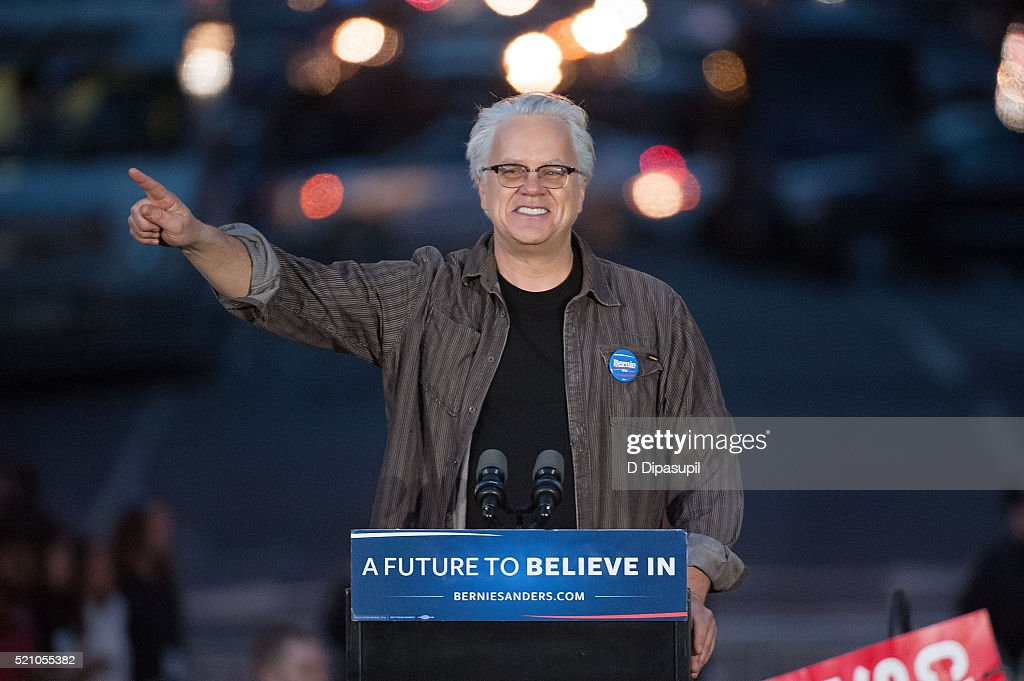 Tim Robbins speaks onstage at a campaign event for Democratic presidential candidate U.S. Senator Bernie Sanders (not pictured) at Washington Square Park on April 13, 2016 in New York City.