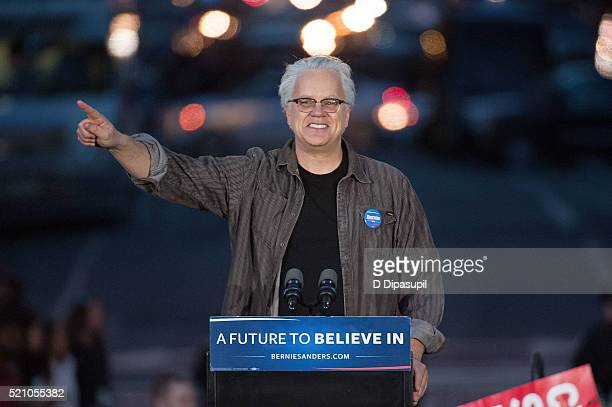 Tim Robbins speaks onstage at a campaign event for Democratic presidential candidate U.S. Senator Bernie Sanders at Washington Square Park on April...
