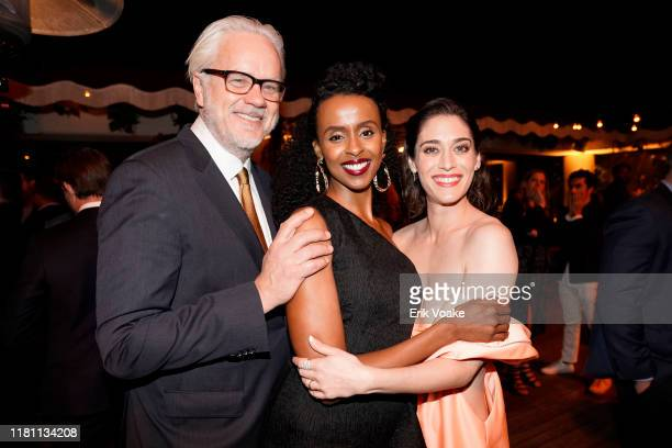 "Tim Robbins, Yusra Warsama and Lizzy Caplan attend Hulu ""Castle Rock"" Season 2 Premiere at AMC Sunset 5 on October 14, 2019 in West Hollywood,..."