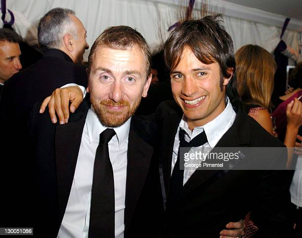 Tim Roth and Gael Garcia Bernal during 2004 Cannes Film Festival Motorcycle Diaries Party at La Plage Coste in Cannes France
