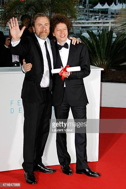 Tim Roth and Michel Franco winner Best Screenplay Prize for his film 'Chronic' attend the 'Palm D'Or Winners' photocall during the 68th annual Cannes...