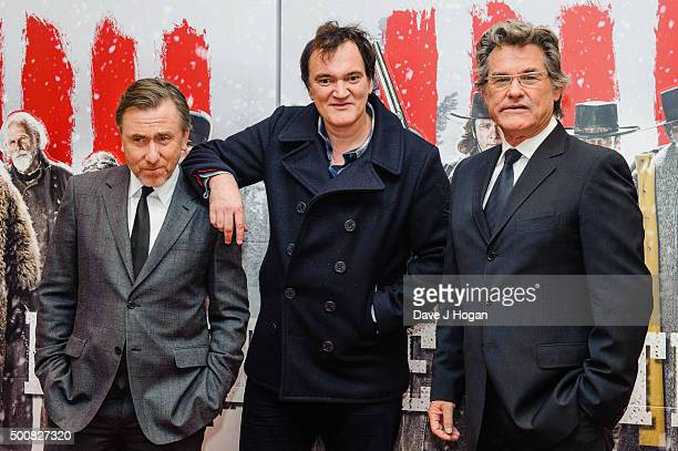 Tim Roth Quentin Tarantino and Kurt Russell attend the European Premiere of The Hateful Eight at Odeon Leicester Square on December 10 2015 in London...