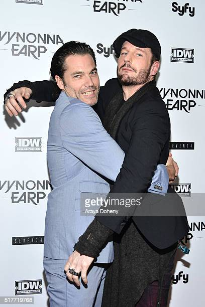 Tim Rozon and Michael Eklund attend the premiere of Syfy's 'Wynonna Earp' at WonderCon 2016 at Regal LA Live Stadium 14 on March 26 2016 in Los...