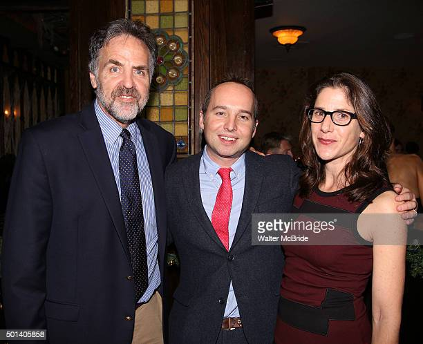 Tim Sanford Jordan Harrison and Anne Kauffman attend the opening night after party for the Playwrights Horizons New York premiere production of...