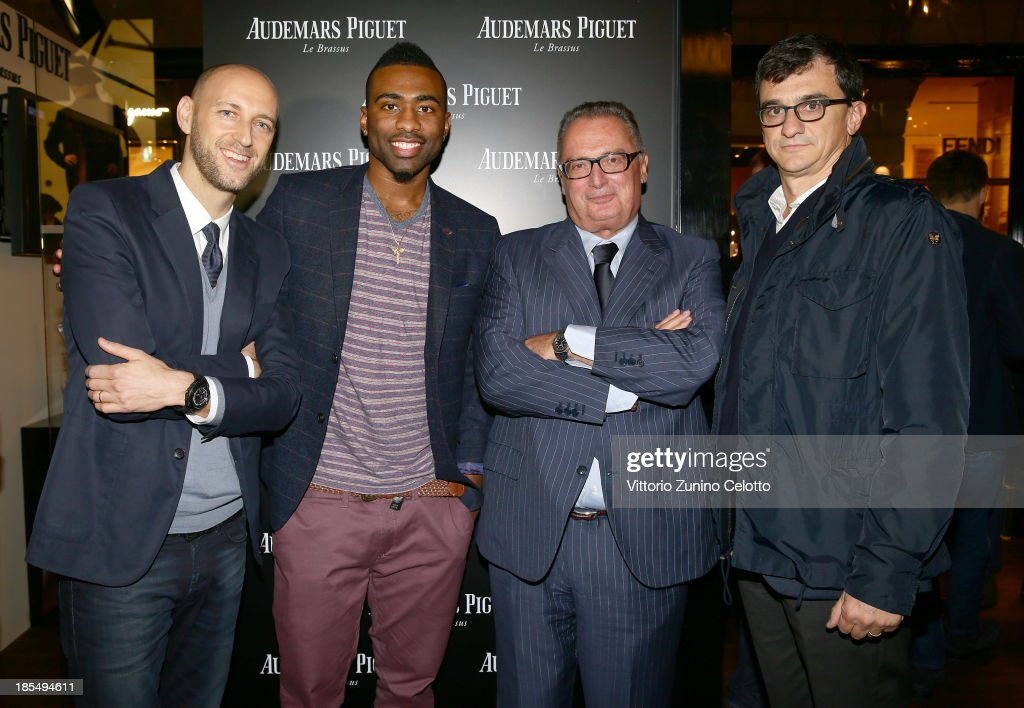 Tim Sayler, Keith Langford, Franco Ziviani, Matteo Dore attend Audemars Piguet Cocktail on October 21, 2013 in Milan, Italy.