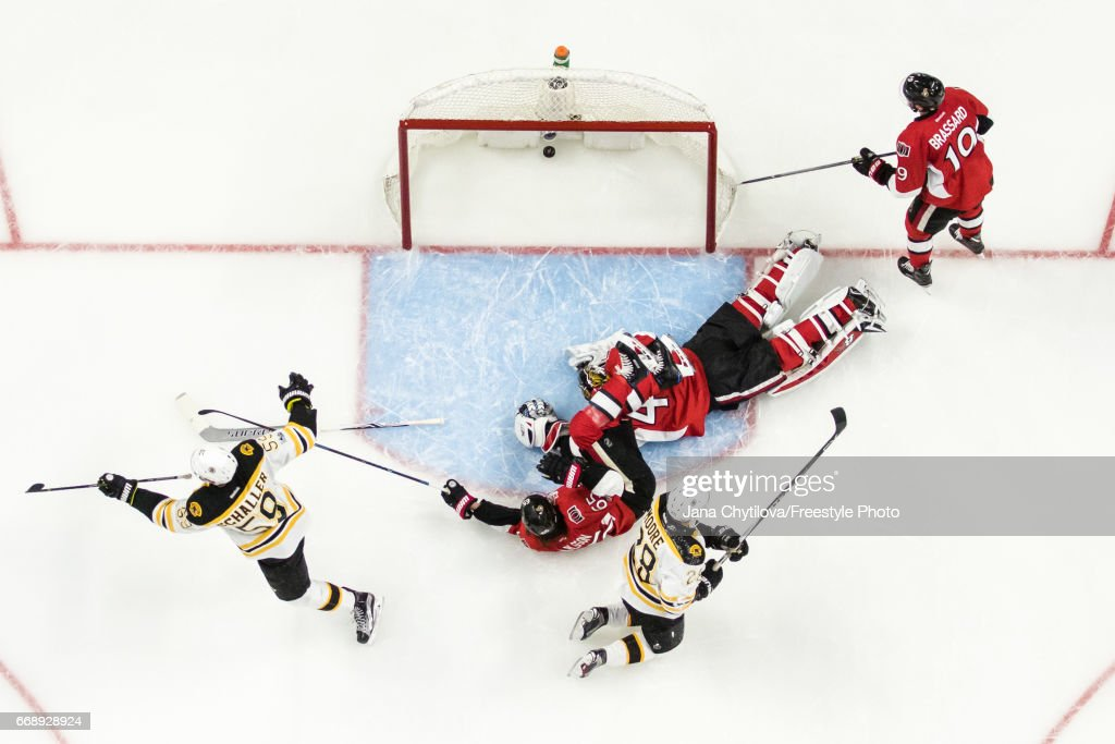 Tim Schaller #59 of the Boston Bruins in Game celebrates his second period shorthanded goal as Erik Karlsson #65, Craig Anderson #41 and Derick Brassard #19 of the Ottawa Senators react in Game Two of the Eastern Conference First Round during the 2017 NHL Stanley Cup Playoffs at Canadian Tire Centre on April 15, 2017 in Ottawa, Ontario, Canada.