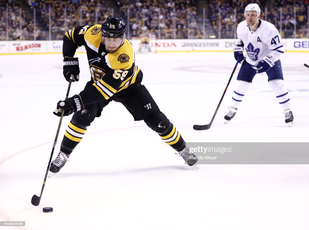 Tim Schaller #59 of the Boston Bruins skates against the Toronto Maple Leafs during the first period of Game One of the Eastern Conference First Round during the 2018 NHL Stanley Cup Playoffs at TD Garden on April 12, 2018 in Boston, Massachusetts.