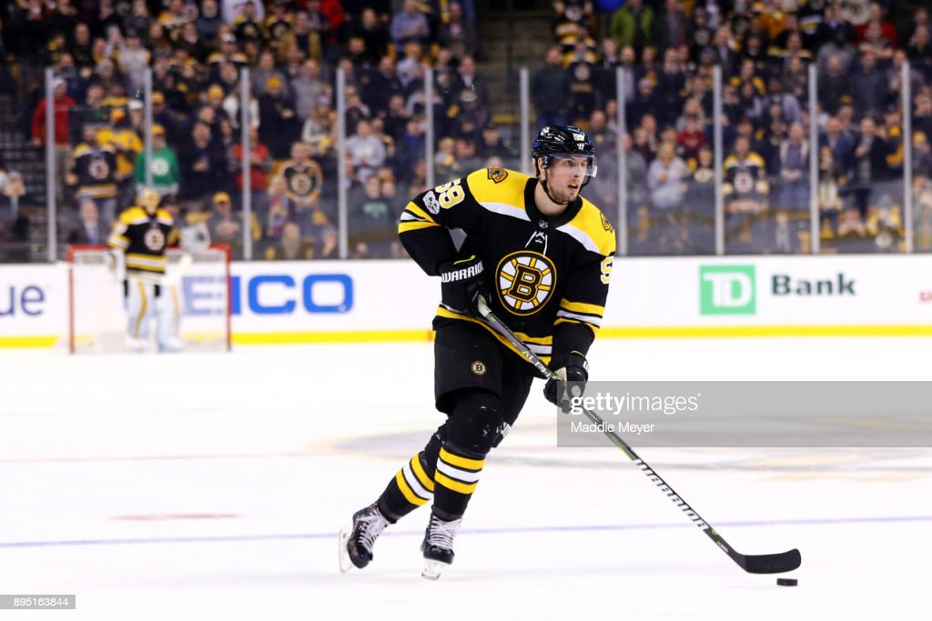 Tim Schaller #59 of the Boston Bruins takes a penalty shot against the Columbus Blue Jackets during the third period at TD Garden on December 18, 2017 in Boston, Massachusetts. The Bruins defeat the Blued Jackets 7-2.