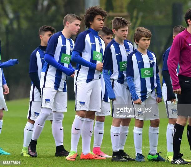 Tim Schliemann Donatus Nweke Mladen Cvjetinovic and Simon Markl of Hertha BSC U14 during the Nike Premier Cup 2017 on april 15 2017 in Berlin Germany