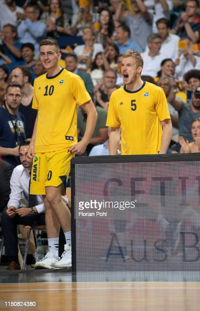 Tim Schneider and Niels Giffey of Alba Berlin during the BBL final match between Alba Berlin and the FC Bayern Muenchen on June 19 2019 at the...