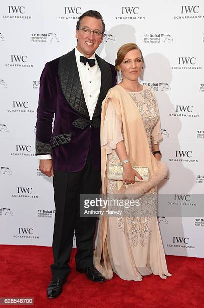 Tim Searle and guest attend the fifth IWC Filmmakejimin Manr Award gala dinner at the 13th Dubai International Fil Festival during which Swiss luxury...