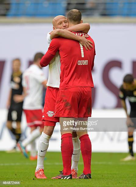 Tim Sebastian and Fabio Coltorti of RB Leipzig celebrate ihren home victory during the game between RB Leipzig and 1 FC Union Berlin on March 1, 2015...